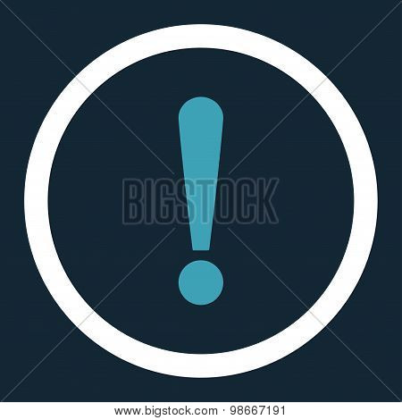 Exclamation Sign flat blue and white colors rounded vector icon