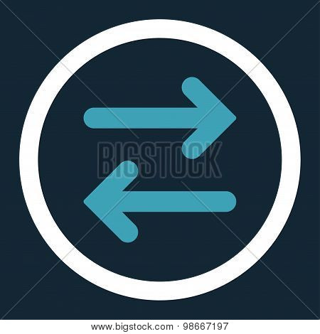 Flip Horizontal flat blue and white colors rounded vector icon