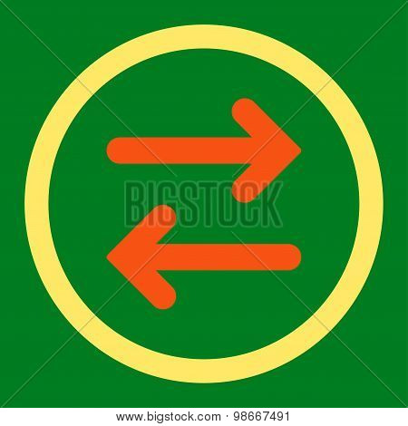 Flip Horizontal flat orange and yellow colors rounded vector icon