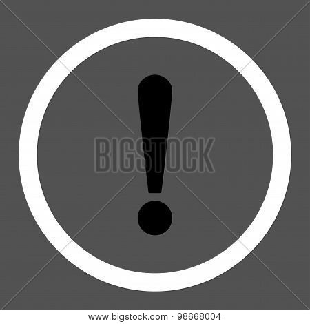 Exclamation Sign flat black and white colors rounded vector icon