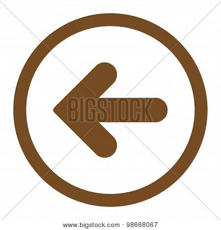 Arrow Left flat brown color rounded vector icon