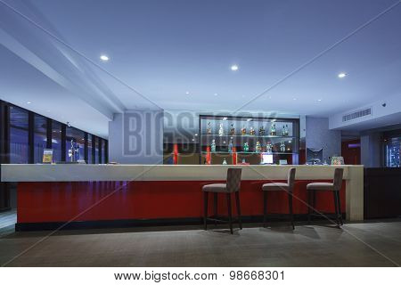 Thailand - May 4: Business Counter Bar And Chair For Customer Relaxing At Attica Sky Lounge Eastin H