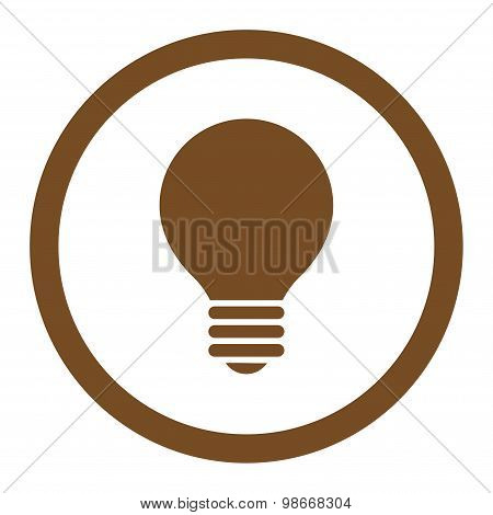 Electric Bulb flat brown color rounded vector icon
