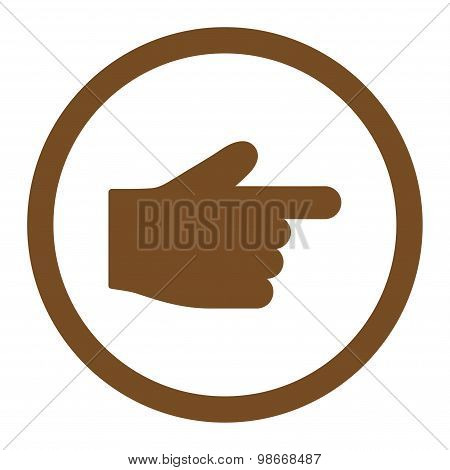 Index Finger flat brown color rounded vector icon