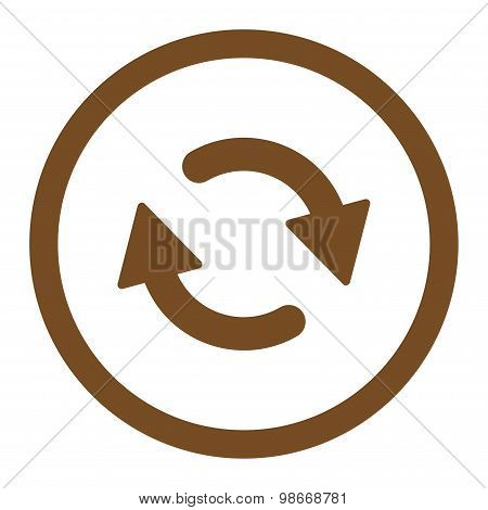 Refresh flat brown color rounded vector icon