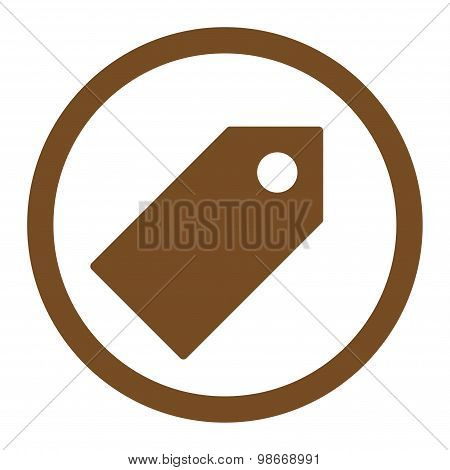 Tag flat brown color rounded vector icon