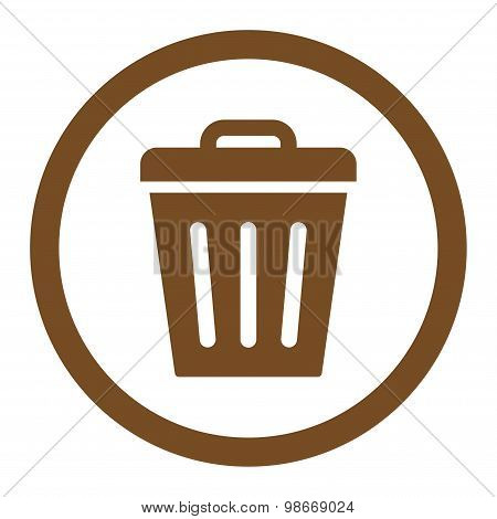 Trash Can flat brown color rounded vector icon
