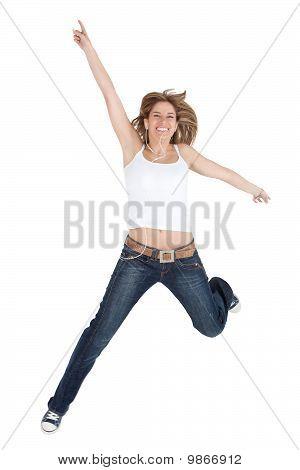 Happy Woman Jumping