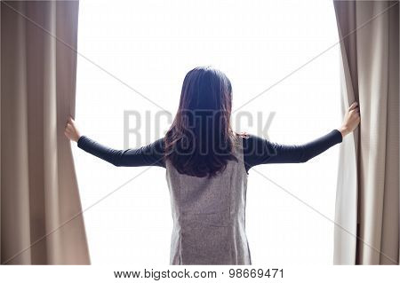 Asian Portrait Beautiful Woman Opening Curtains