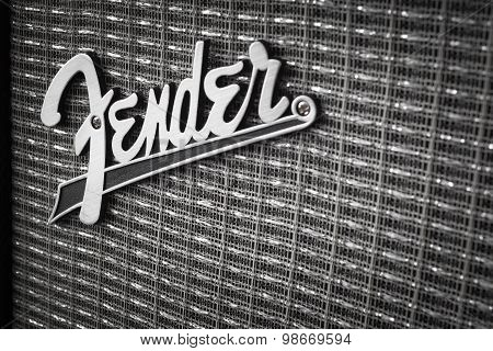 Bangkok, Thailand - August 4 : Fender Logo On Guitar Power Amplifier As Vintage Background Music The