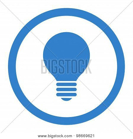 Electric Bulb flat cobalt color rounded vector icon