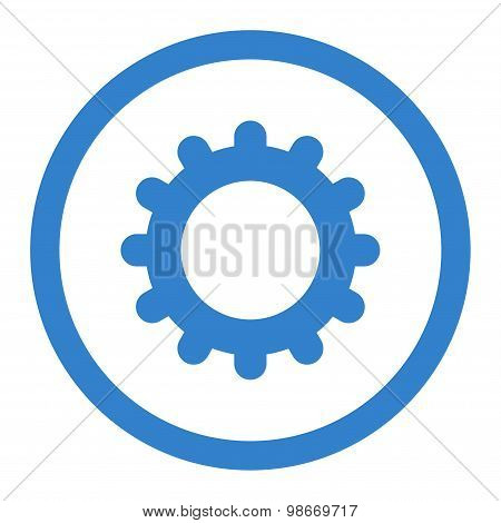 Gear flat cobalt color rounded vector icon