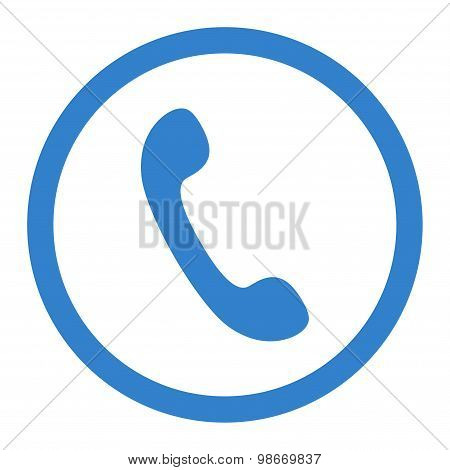 Phone flat cobalt color rounded vector icon