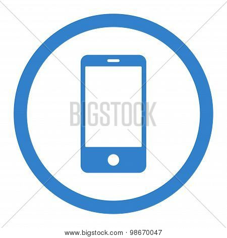 Smartphone flat cobalt color rounded vector icon