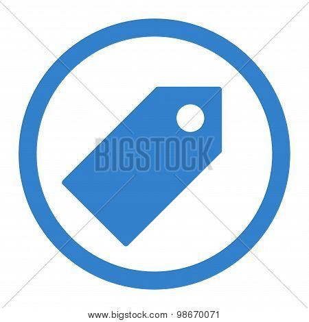 Tag flat cobalt color rounded vector icon