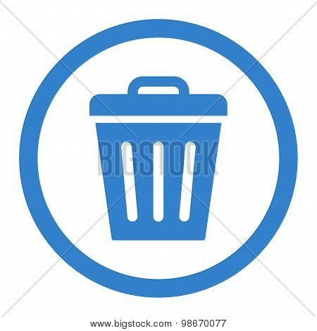 Trash Can flat cobalt color rounded vector icon