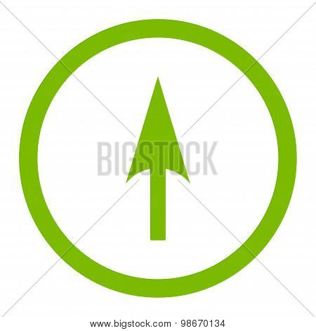 Arrow Axis Y flat eco green color rounded vector icon