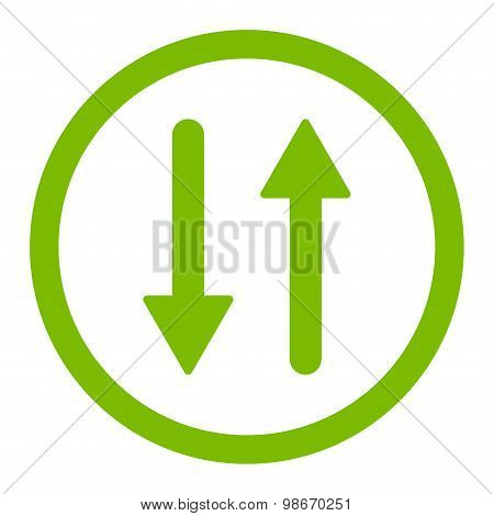 Arrows Exchange Vertical flat eco green color rounded vector icon