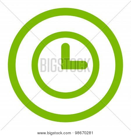 Clock flat eco green color rounded vector icon