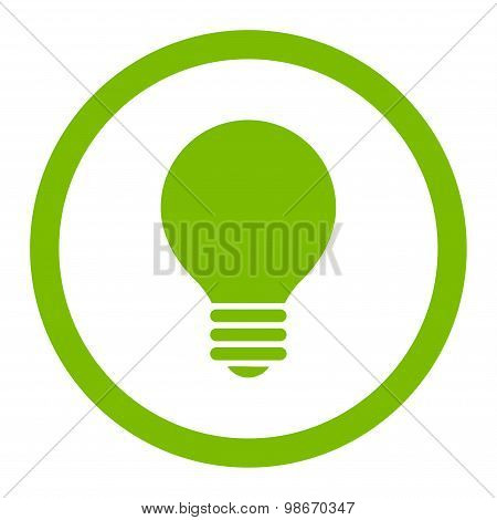 Electric Bulb flat eco green color rounded vector icon