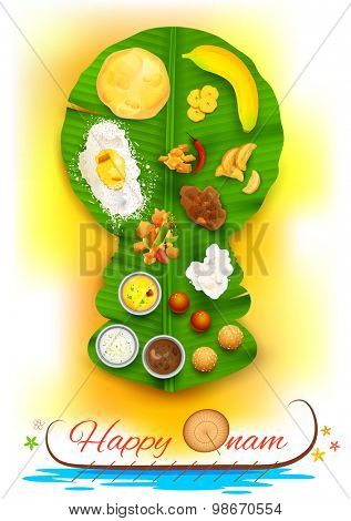 illustration of Onam feast on kathakali dancer shaped banana leaf