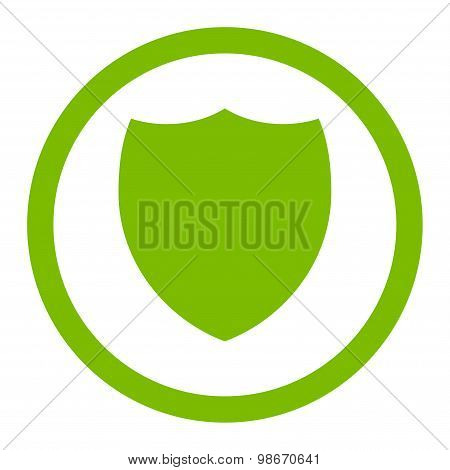 Shield flat eco green color rounded vector icon
