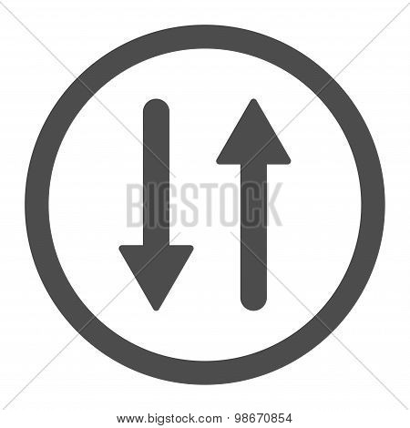 Arrows Exchange Vertical flat gray color rounded vector icon