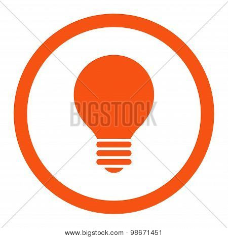 Electric Bulb flat orange color rounded vector icon