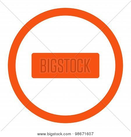 Minus flat orange color rounded vector icon