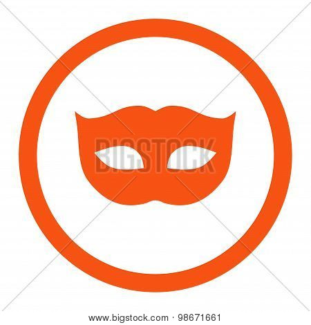 Privacy Mask flat orange color rounded vector icon