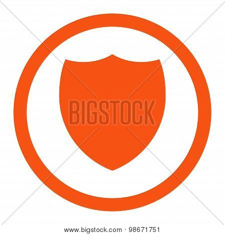 Shield flat orange color rounded vector icon