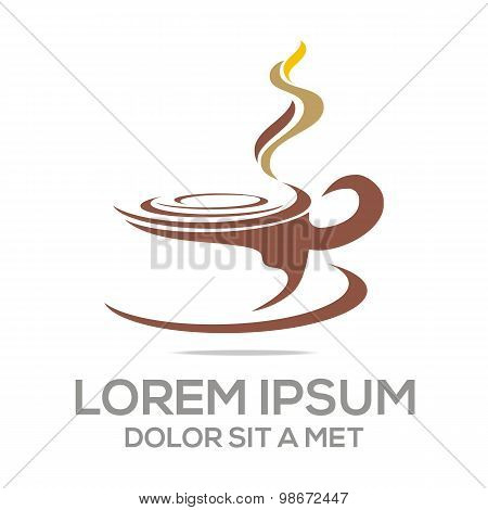 Logo sketch of coffe cup chocolate granule vector