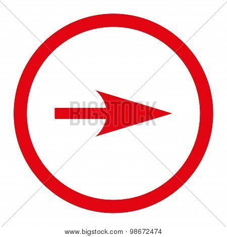 Arrow Axis X flat red color rounded vector icon