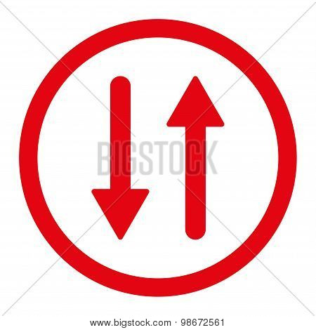 Arrows Exchange Vertical flat red color rounded vector icon