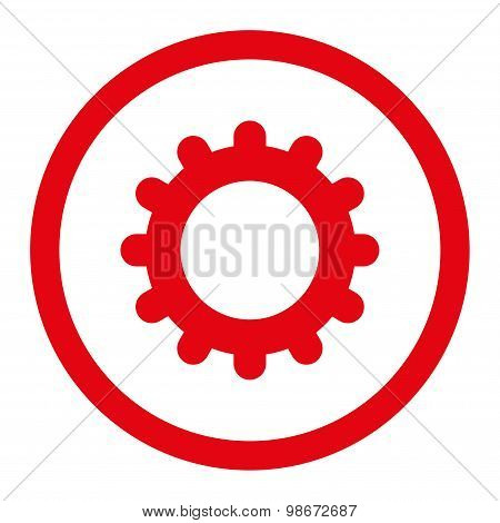 Gear flat red color rounded vector icon
