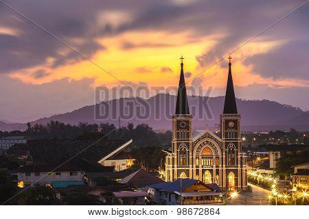 Catholic Church During Sunrise Chanthaburi Province , Thailand .