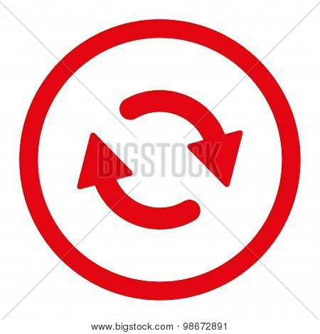 Refresh flat red color rounded vector icon