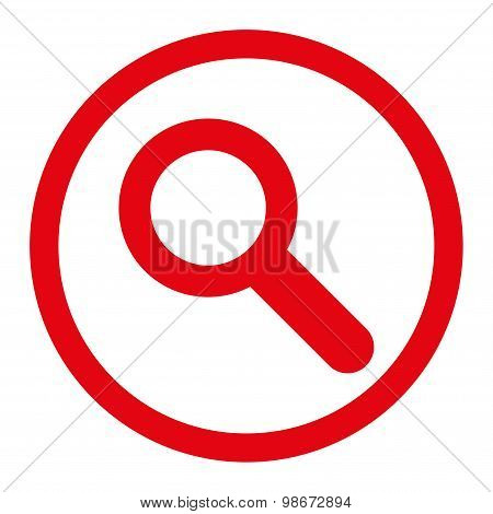 Search flat red color rounded vector icon