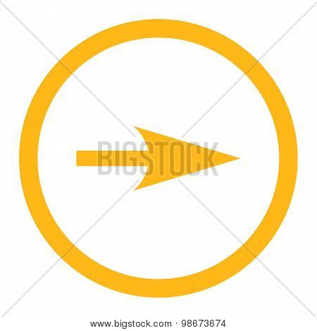 Arrow Axis X flat yellow color rounded vector icon