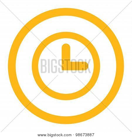 Clock flat yellow color rounded vector icon