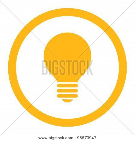 Electric Bulb flat yellow color rounded vector icon