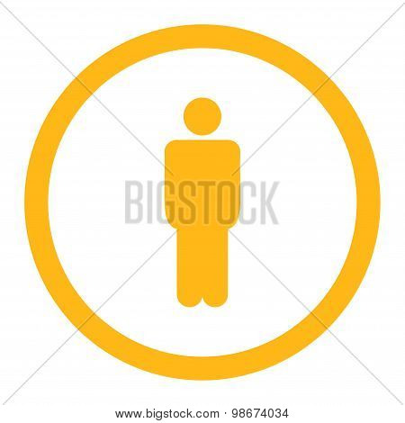 Man flat yellow color rounded vector icon