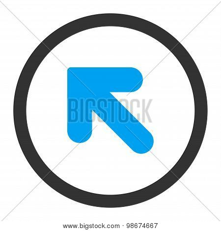 Arrow Up Left flat blue and gray colors rounded vector icon