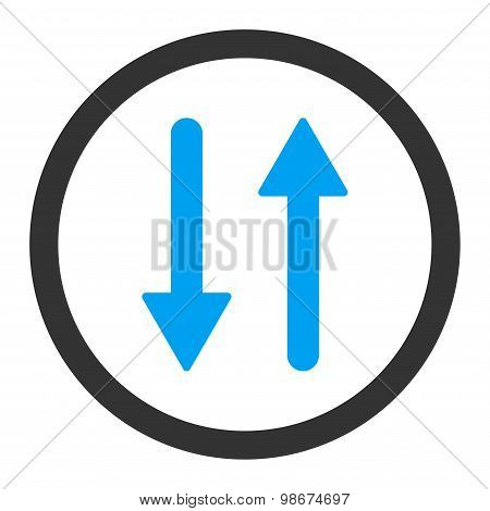 Arrows Exchange Vertical flat blue and gray colors rounded vector icon