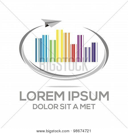 Logo barcode business letter envelope information vector