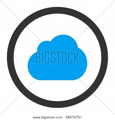 Cloud flat blue and gray colors rounded vector icon