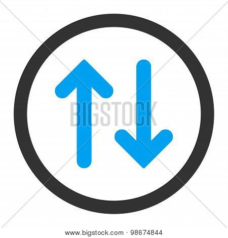 Flip flat blue and gray colors rounded vector icon