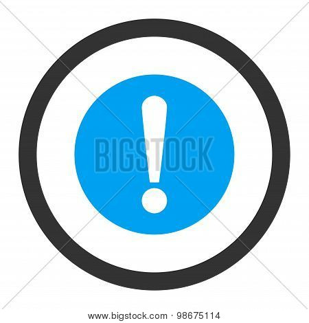 Problem flat blue and gray colors rounded vector icon
