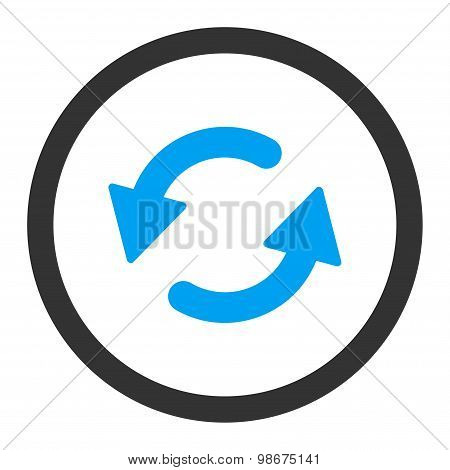 Refresh Ccw flat blue and gray colors rounded vector icon