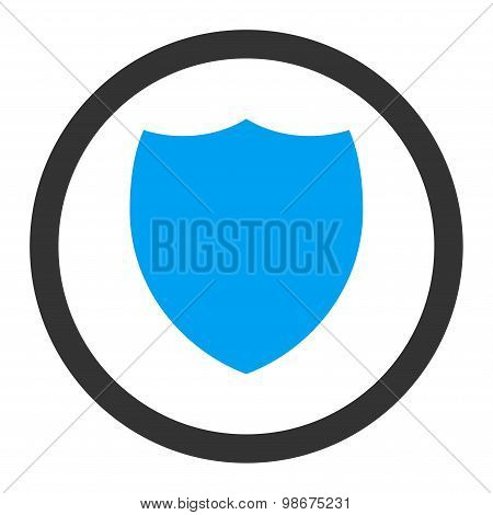 Shield flat blue and gray colors rounded vector icon